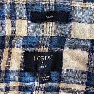 J. Crew Shirts - J.Crew Linen long sleeve button down plaid shirt